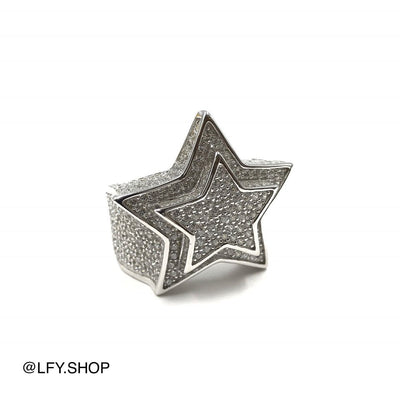 ICED Star Ring in White Gold, front of the ring being shown on a white background, best out.