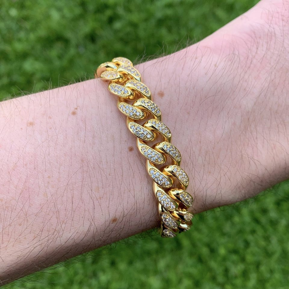 12mm LFY ICED Cuban Bracelet in Gold, shown on a man's wrist, best out.