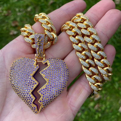 ICED Purple Broken Heart Pendant in Gold (Purple Centre)