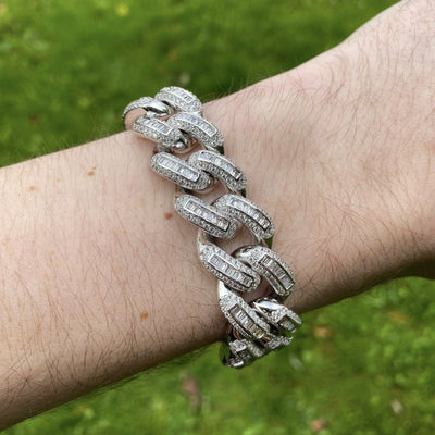19mm LFY ICED Baguette Cuban Bracelet in White Gold, shown being worn on a man's wrist, best out.