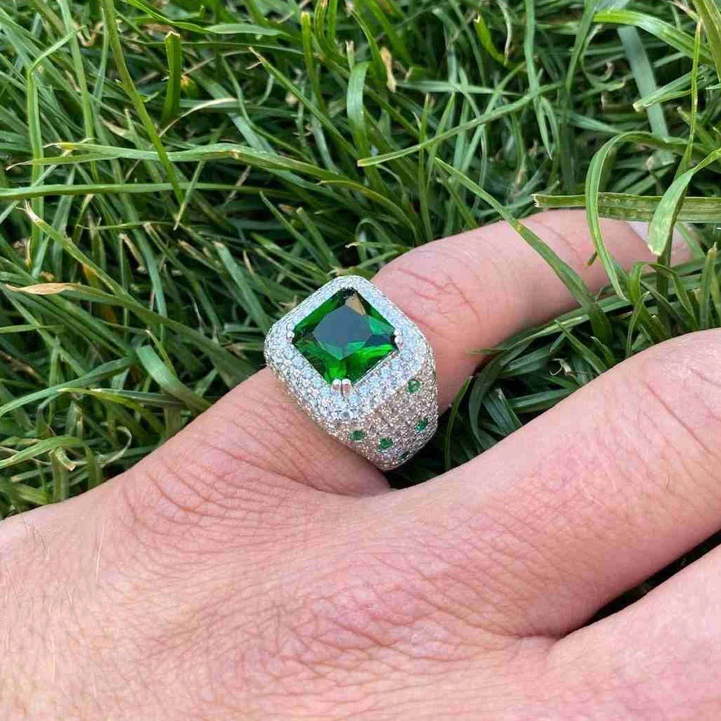 ICED Green Beast Ring in White Gold
