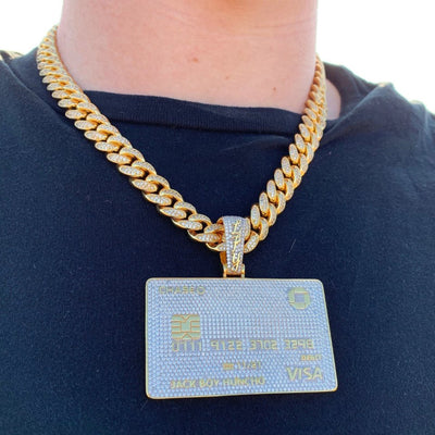 ICED Bank Card Pendant in Gold