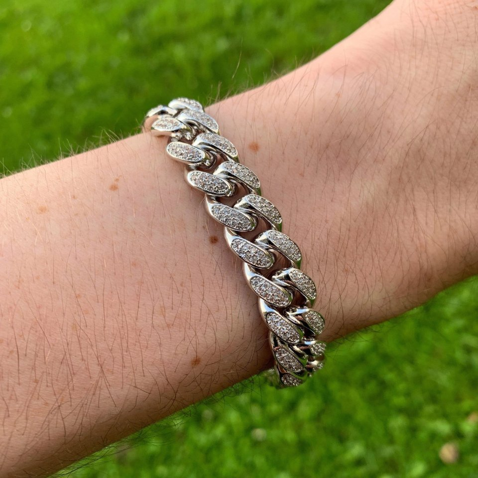 12mm LFY ICED Cuban Bracelet in White Gold