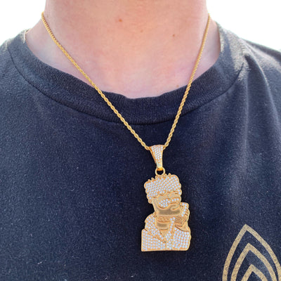 ICED Bart Simpson Pendant in Gold shown being worn around a man's neck, best out.