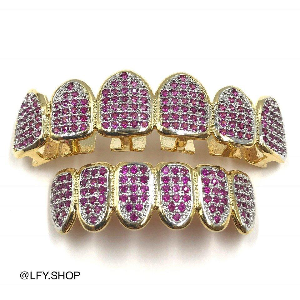 18k Gold Plated ICED Grills (Purple CZ), front of the grills being shown, best out