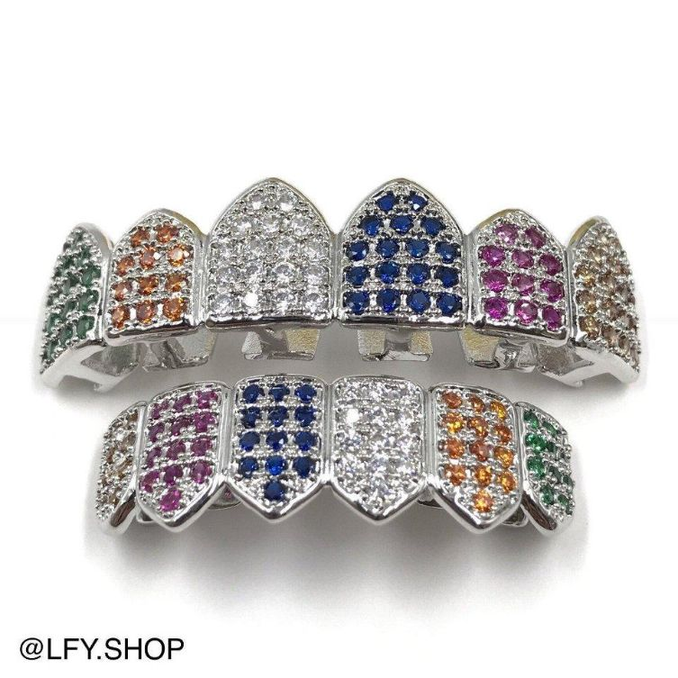 ICED Rainbow Grills in White Gold
