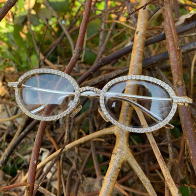 ICED Sleek Glasses in White Gold, front of the glasses being shown, best out
