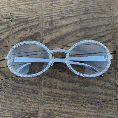 LFY ICED Baller Glasses in White Gold, front of the glasses being shown, best out