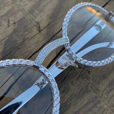 LFY ICED Baller Glasses in White Gold being shown at an angle, best out