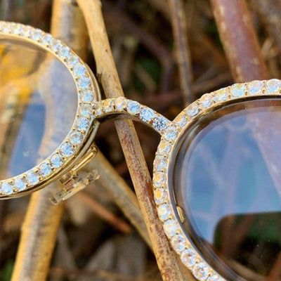 ICED Sleek Glasses in White Gold, close up of the front of the glasses being shown, best out
