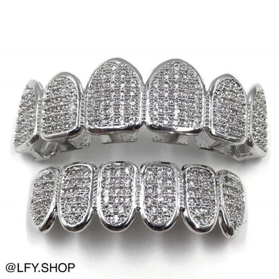 18k White Gold Plated ICED Grills, front of the grills being shown, best out