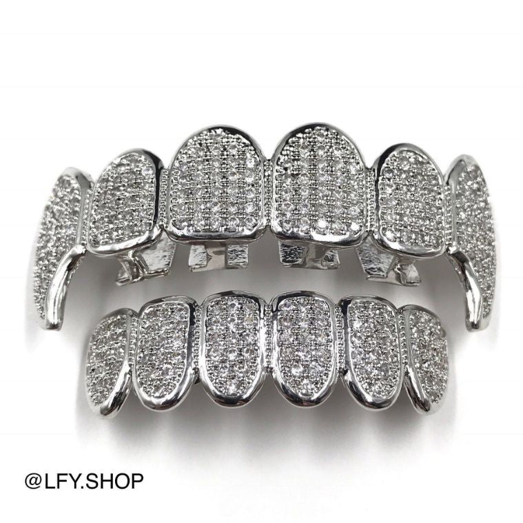 18k White Gold ICED Plated Fang Grills, front of the grills being shown, best out