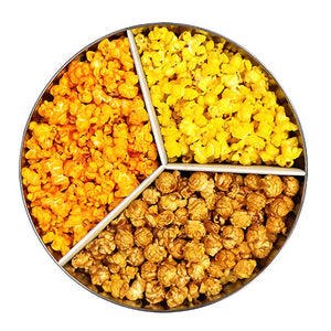 Popcorn tin with three popcorn flavors