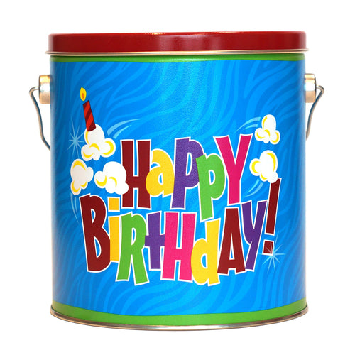 1 gallon happy birthday tin of popcorn