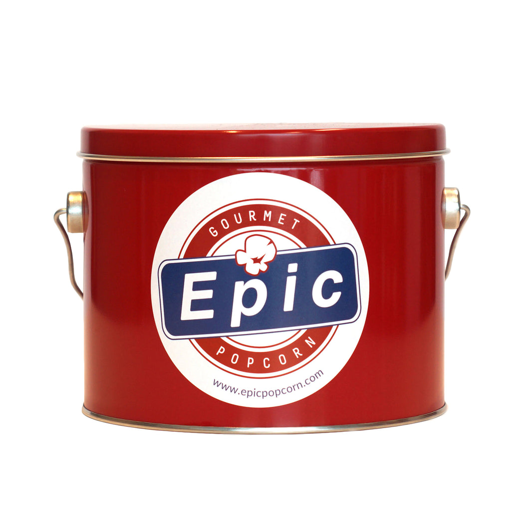 1 gallon Epic red popcorn tin
