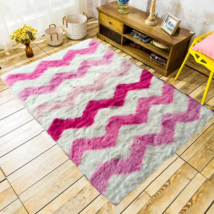 Super Soft Faux Fur Sheepskin Rug Chair Cover Seat Pad Pink/Blue/Yellow Striped Warm Shag/Shaggy Fuzzy Fluffy Area Rug for Home