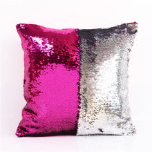 Load image into Gallery viewer, BeddingOutlet DIY Mermaid Sequin Cushion Cover Magical Pink Throw Pillowcase 40cmX40cm Color Changing Reversible Pillow Case