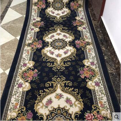 European and Ameircan Style Hallway Carpet Floral Modern Pattern Absorbent Non-slip Carpet rug runner for Living room Bedroom