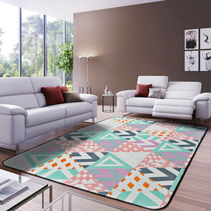 Geometric Pattern Printed Rectangles Carpet Rugs Soft Thicken Bohemian Floor Mats Living Room Non-Slip Water Absorption Doormats