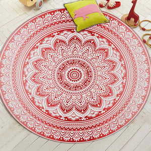 Miracille Bohemian Style Mandala Pattern Round Carpet Non-Slip Bath Mat Soft Fluffy Coral Velvet Area Rug for Living Room Decor