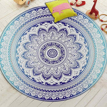 Load image into Gallery viewer, Miracille Bohemian Style Mandala Pattern Round Carpet Non-Slip Bath Mat Soft Fluffy Coral Velvet Area Rug for Living Room Decor