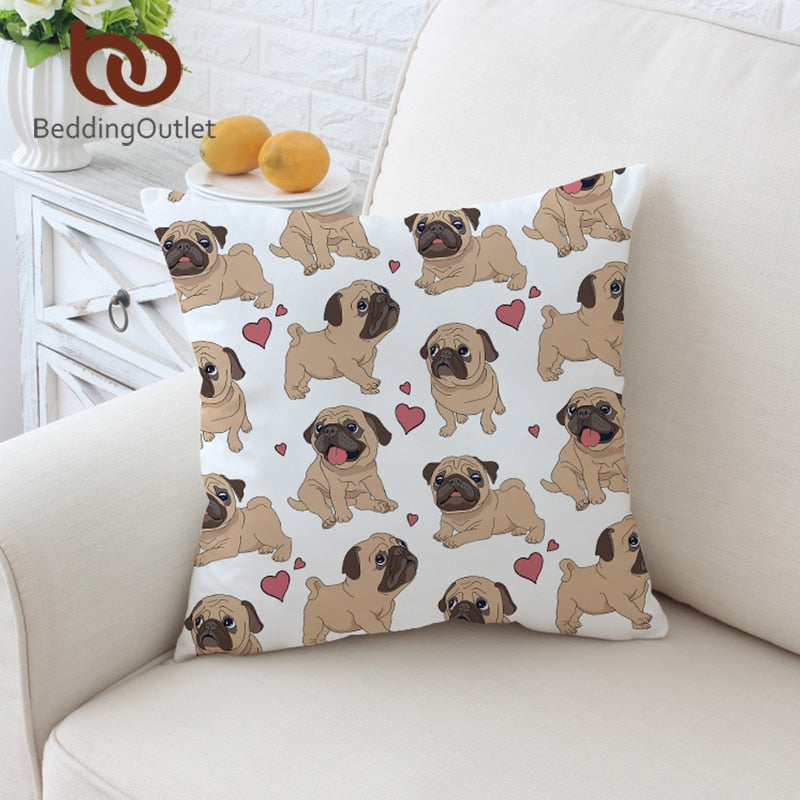 BeddingOutlet Hippie Pug Cushion Cover Animal Cartoon Pillow Case For Kids Cute Bulldog Throw Cover Home Decor Pillow Covers
