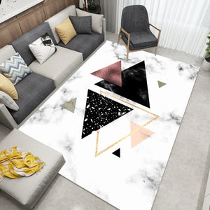 Nordic Style Geometric Marble Pattern Carpet Living Room Rug Sofa Coffee Table Mat Bedroom Yoga Pad Rectangular Bedside Blanket