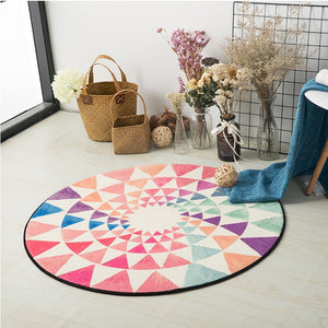 Colorful Bohemian Mandala Round Carpet Computer Chair Floor Mat Home Decor Kids Room Children Play Tent Area Rug Soft Carpets