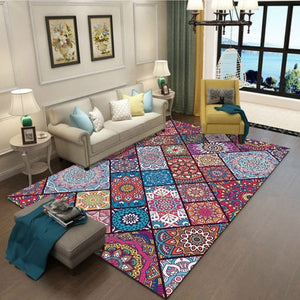 Bohemian Retro Rug Art Ethnic Chinese Style 3D Carpet Lving Room Bedroom Study Mat Machine Washable custom Home Accessories