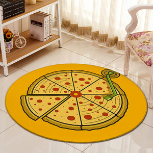 Bohemian Carpet Round Office Chair Floor Mat Home Decor Pizza 3D Printing Bohemia Rugs Mat Kids Room Children's Play Blanket