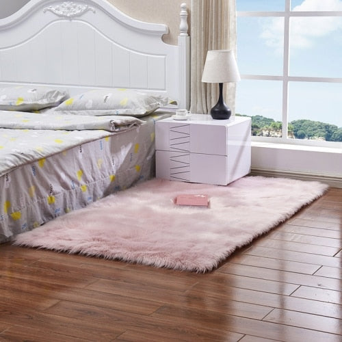 RAYUAN Artificial Wool Pink Sheepskin Hairy Carpet Faux Mat Soft Seat Pad Fur Plain Fluffy Area Rug Tapetes Multi Size