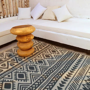 Morocco style beige white geometric pattern cotton living room rug,  Pastoral decoration bedside carpet, Nordic coffee table mat