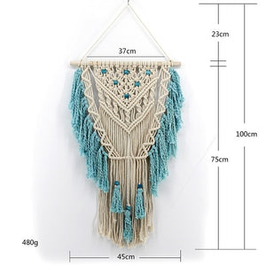 Hand Knotted Macrame Wall Art Handmade Cotton Bohemian Wall Hanging Tapestry with Tassel Boho Home Wedding Decoration Best Gift