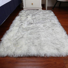 Load image into Gallery viewer, Grey and White Sheepskin   Hairy Carpet Seat Pad Super Soft Faux Fur Fake Sheepskin - Shaggy Area Rugs For Living room