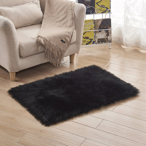 Grey and White Sheepskin   Hairy Carpet Seat Pad Super Soft Faux Fur Fake Sheepskin - Shaggy Area Rugs For Living room