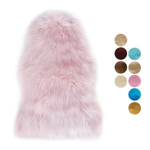 DIDIHOU Fur Artificial Sheepskin Hairy Carpet Living Room Bedroom Rugs Skin Fur Plain Fluffy Area Rugs Washable Bedroom Faux Mat