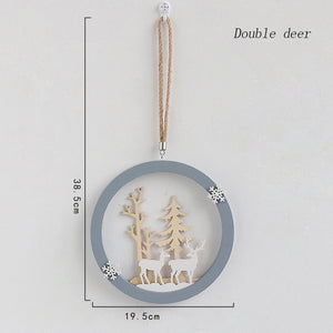 Flone Nordic Decoration Home Wooden Elk Hanging Ornaments Christmas Nursery Decor Kids Room Decoration Supplies Accessories