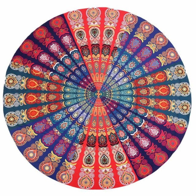 Bohemian Round Wall Tapestry Decor Polyester Summer Beach Towel Girl Wrapped Skirt