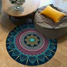 Load image into Gallery viewer, European Retro Ethnic Indian Bohemian Round Carpets for Living Room Anti Slip Floor Mat Parlor Persian Area Rugs Bedroom Tapis
