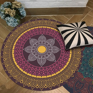 European Retro Ethnic Indian Bohemian Round Carpets for Living Room Anti Slip Floor Mat Parlor Persian Area Rugs Bedroom Tapis