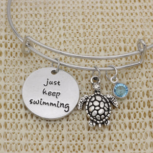 """Just Keep Swimming"" Sea Turtle Bracelet"