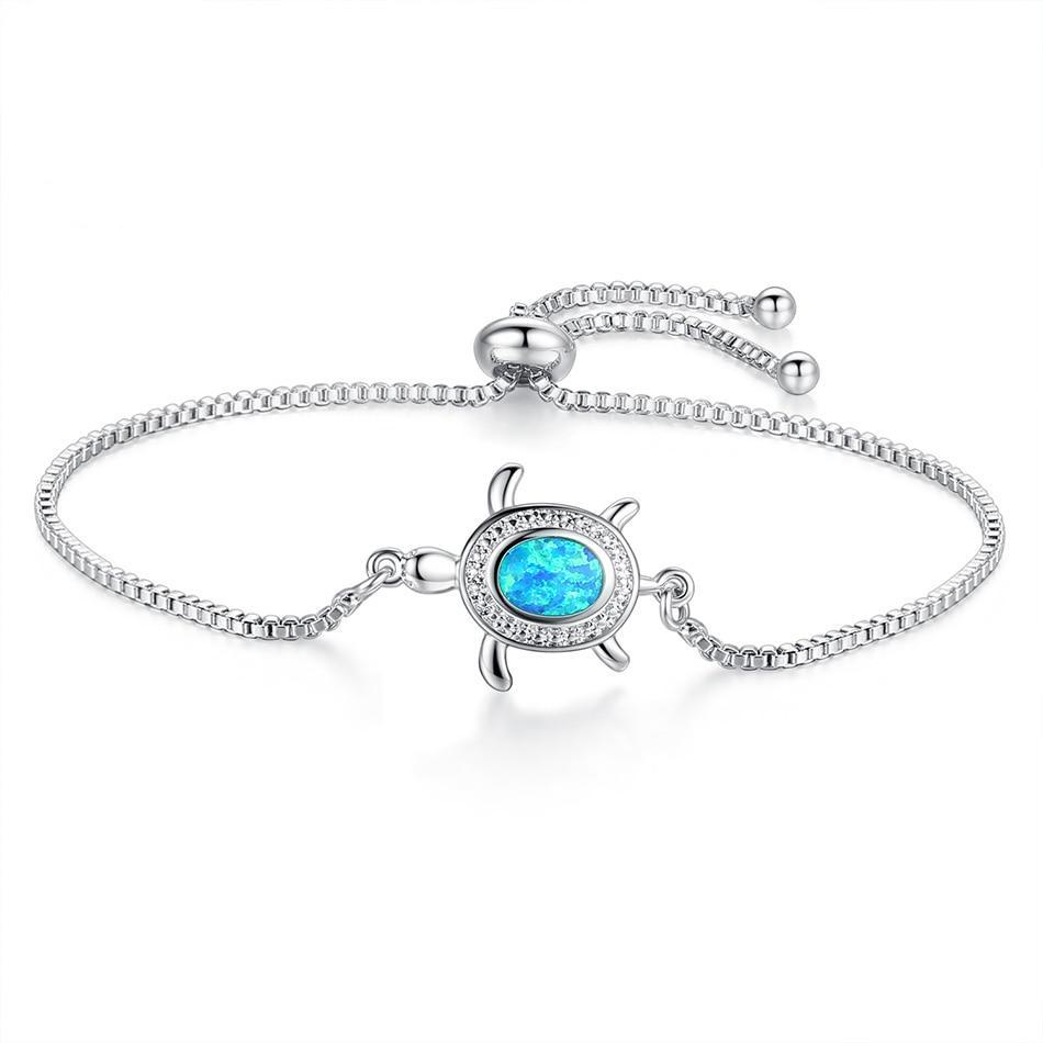 Blue Opal Sea Turtle Charm Bracelet