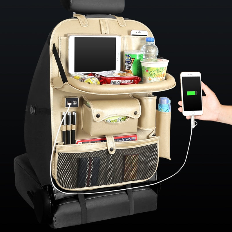 USB Charging Car Seat Back Organizer Table Tray with Free Multi-Use Cleaning Sponge Gloves Brush