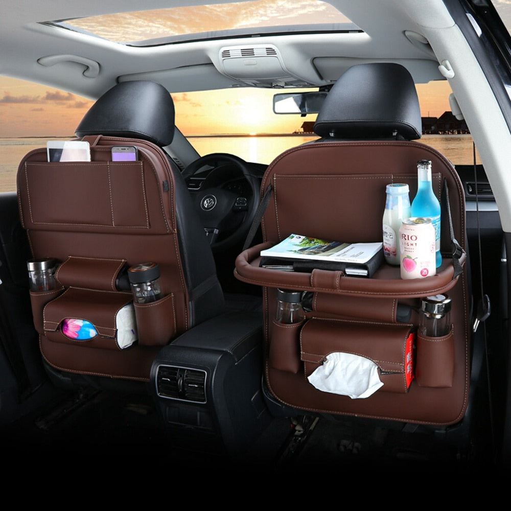 Car Back seat Organizer with Foldable Table Tray PU Leather Car Back seat Or...