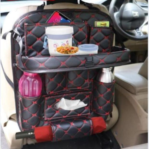 Designer Stitched PU Leather Car Back Seat Organizer with Tray