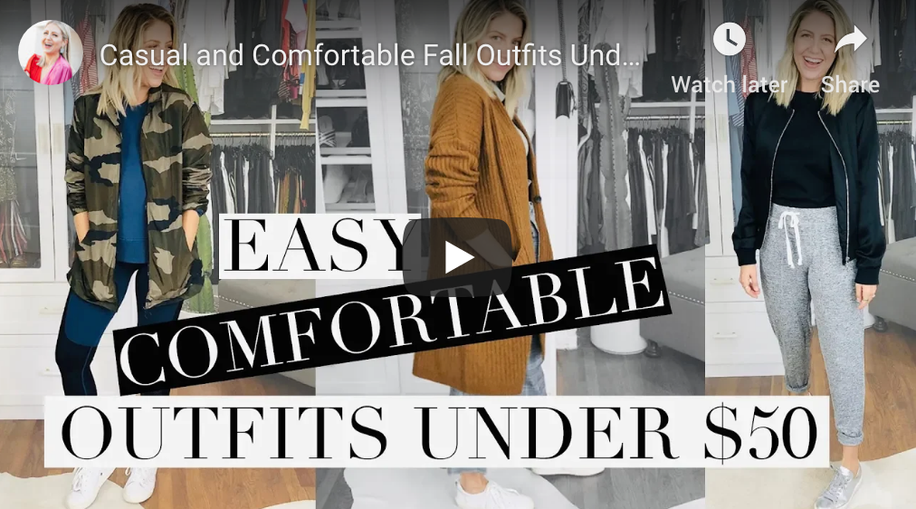 """Casual and Comfortable Fall Outfits Under $50"" video on my Lindsay's Latest channel!"