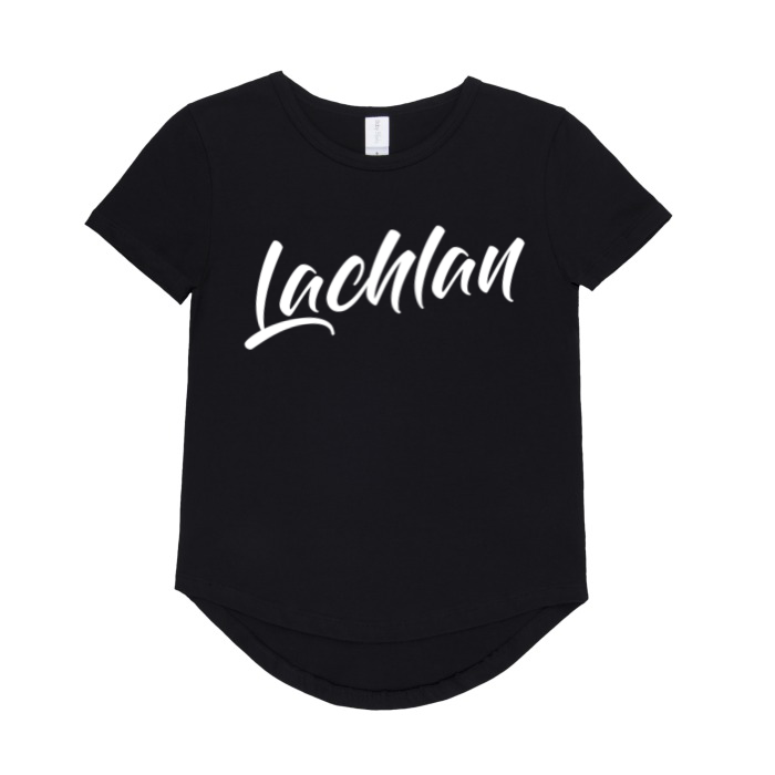 Modern font personalised t-shirt | size 6 - 14