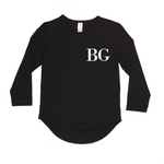 Classic font personalised long sleeve top | size 0 - 14