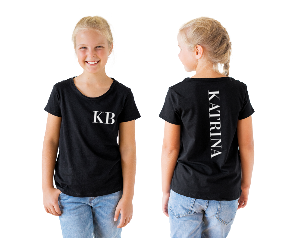 Classic font personalised t-shirt • size 0 - 14