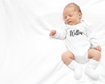 Cursive font personalised long sleeve bodysuit • size 0000 • 1